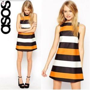 ASOS Silky Feel Bonded Shift Dress in Stripe
